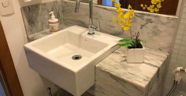 bancada para banheiro projetada pela MHM Pedras