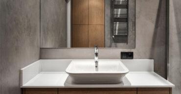 Aglostone ou quartzo podem fazer parte da sua decoração. Bancada de banheiro com aglostone.