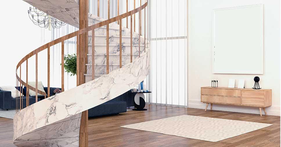 Escadaria representando o uso de pedras naturais na decoração