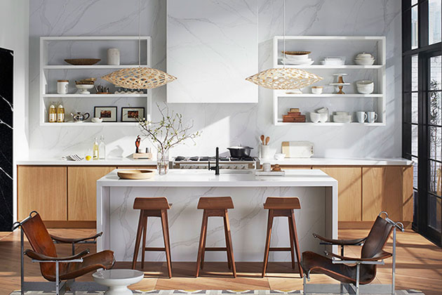 Cozinha com silestone representando um dos tipos de pedra para cozinha