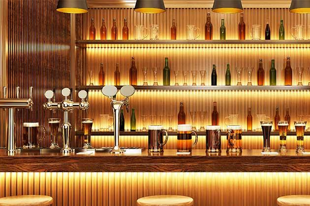 balcão de bebidas chique feito com pedras decorativas para restaurantes