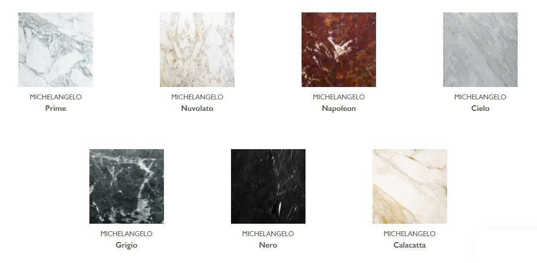 catálogo de cores disponíveis do mármore Michelangelo